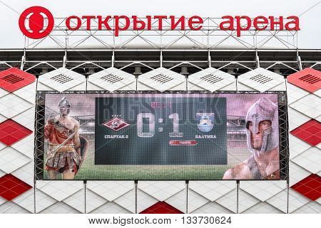Moscow Russia - September 20 2015: Screen with soccer match score on the wall of Otkrytie Arena. Home stadium of Spartak football team.
