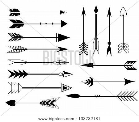 Arrow Clip art Set in Vector on White Background. Hand drawn vintage vector design set. Design elements. Retro style. arrows