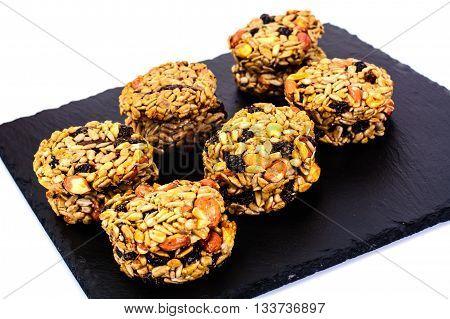 Cookies with Raisins, Peanuts, Sunflower Seeds, Oat Flakes and Honey Studio Photo