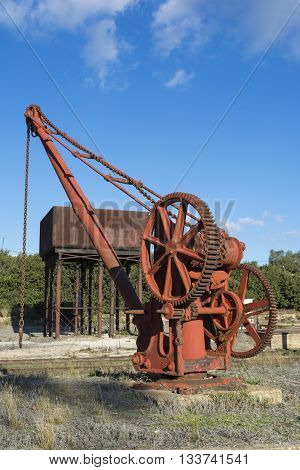 Burra South Australia Australia - June 4 2016: The old rusting machinery used in years past at the old historic and newly restored Burra Railway Station.