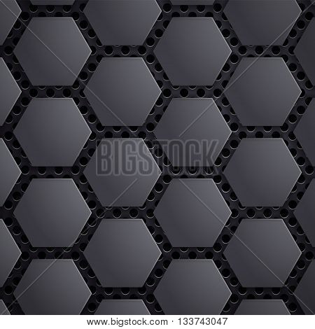Abstract geometric metallic background. Carbon steel honeycomb on the grid. Stock vector illustration.
