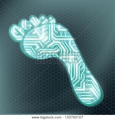 Footprint in the form of technological circuit. Electronic chip. Stock Vector illustration.