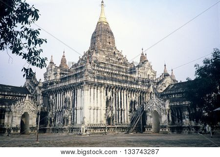 The Ananda Temple in Pagan, Burma (now called Myanmar), circa 1987.