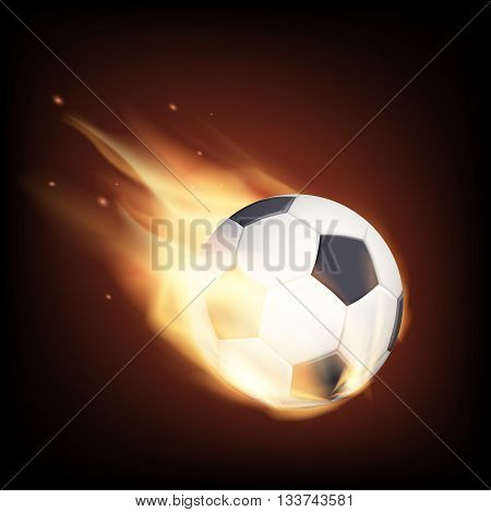 Soccer ball on fire. Isolated on a black background. Stock vector illustration.