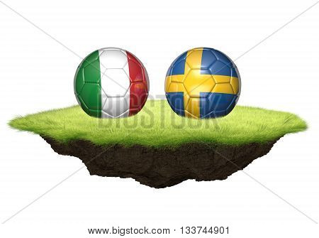 Italy and Sweden team balls for football championship tournament, 3D rendering