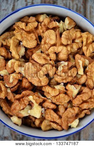 Walnut Nuts Clean Fresh Organic Walnuts Blue Wooden Background 4