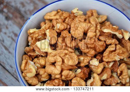 Walnuts Kernel On Blue Vintage Table Village Fall Harvest 4