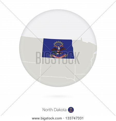 Map Of North Dakota State And Flag In A Circle.