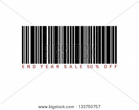 End of year sale savings 50% off present with barcode. Sale concept.