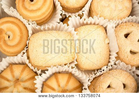 Closeup of danish cookies. Shugar and crumbs visible