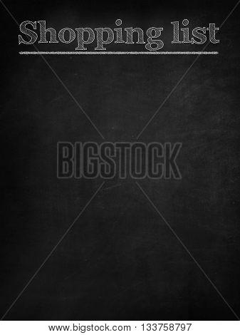 Shopping list chalk word on blackboard background