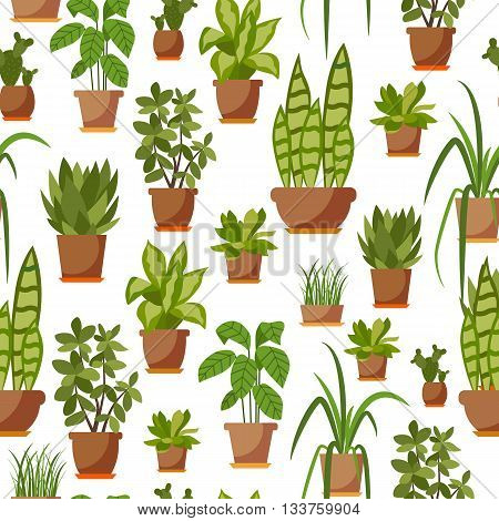 House plant seamless pattern. Vector potted plant patten illustration. Colorful home plant seamless pattern for your design. Flat office plant seamless pattern. Flower pot seamless pattern background.