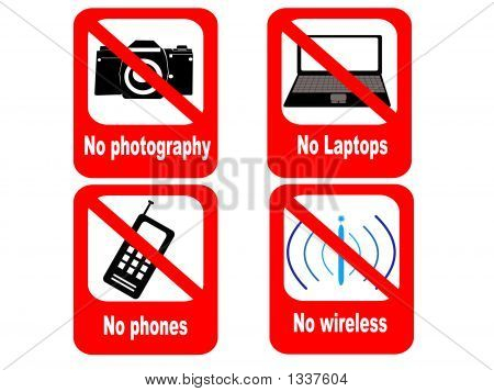 technology prohibited sign no phones laptops cameras or wireless devices poster