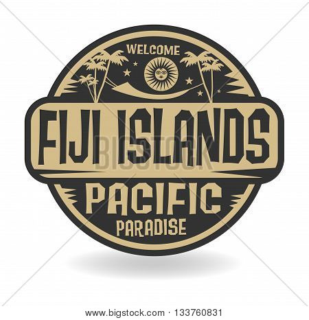Stamp or label with the name of Fiji Islands, Pacific Paradise, vector illustration