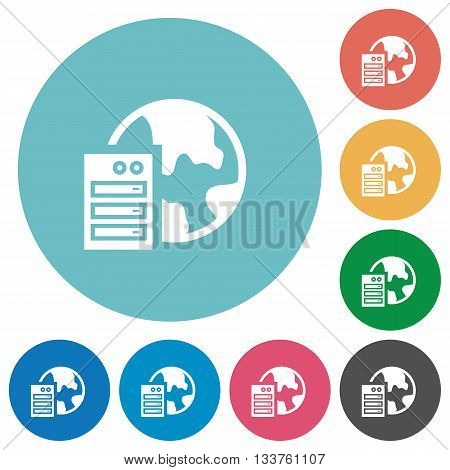 Flat web hosting icon set on round color background.