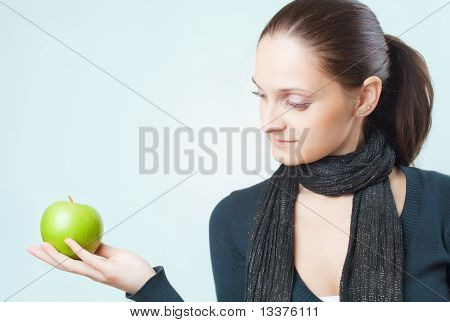 Beautiful Young Lady With Green Apple