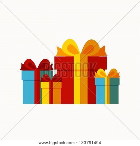 Vector presents celebration illustration. Concept of flat presents icons. Colorful presents greeting concept for your design. Greeting presents elements isolated.