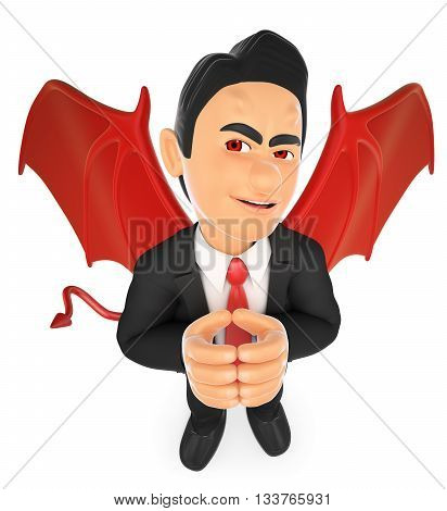 3d business people illustration. Businessman devil. Isolated white background.