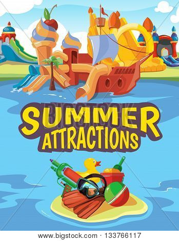 Vector illustration of inflatable castles, water hills in an aquapark. Advertise poster with place for your text