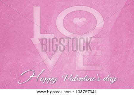 Valentine's Day on old grunge pink paper background