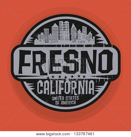 Stamp or label with name of Fresno, California, vector illustration