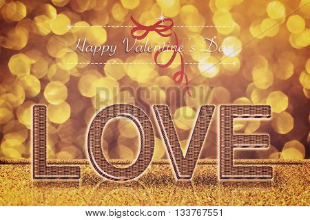 Love word on gold bokeh retro background for valentine's day