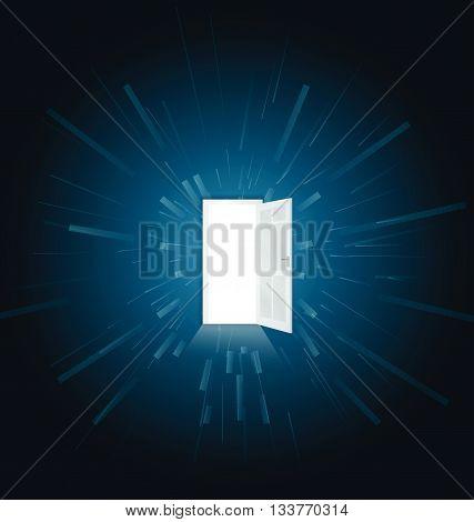 Vector illustration of one open door full of light