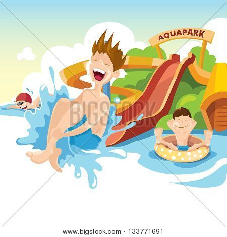 Vector illustration of water hills in an aquapark. The cheerful boy rides on water hills