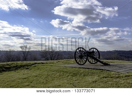 Boonesboro ,Kentucky, February 26, 2016: Cannon found at the earthen fort remaining atop the mountain.