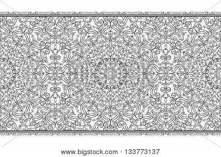 Ethnic seamless pattern borders background, ornate strip.Vintage decorative vector ornament.East, Islam, Arabic, Indian, motifs, revival swirling.Abstract Tribal texture.Orient, symmetry lace and fabric decor