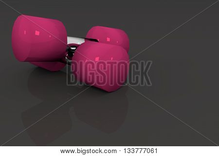 3D rendering of a pair of pink dumbbell on grey background