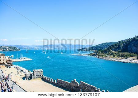 view of portovenere bay in italy Tuscany