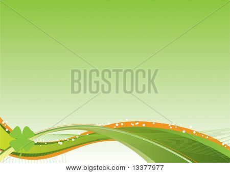 St. Patrick's Day vector green flow background