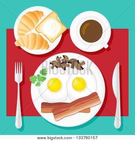 Breakfast set in flat style. Fried eggs bacon mushrooms parsley coffee croissants bread and butter on white plates