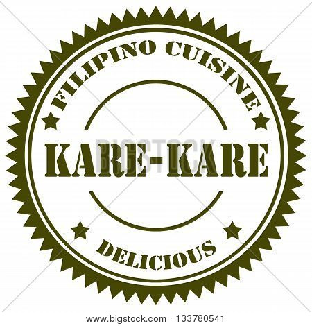 Stamp with text Kare Kare (Filipino traditional food),vector illustration