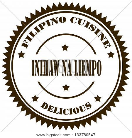 Stamp with text Inihaw na Liempo(Grilled Pork Belly),filipino recipe-vector illustration