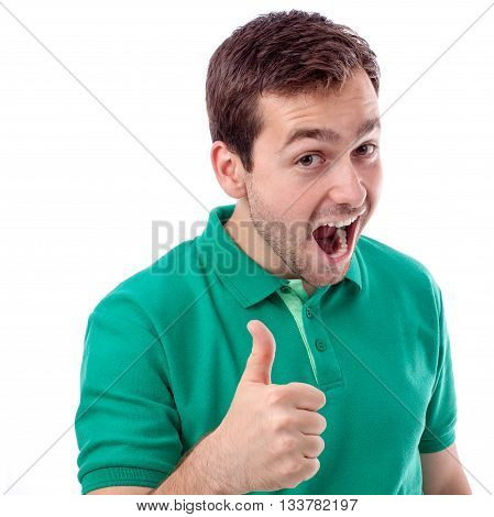 Handsome young man in green shirt with thumbs up
