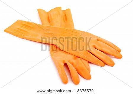 Two orange rubber gloves isolated on white background