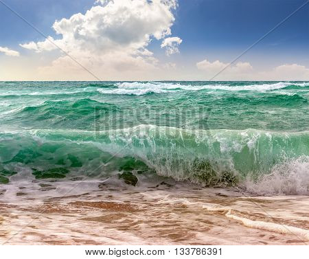 Huge Sea ​​waves Running On Sandy Beach
