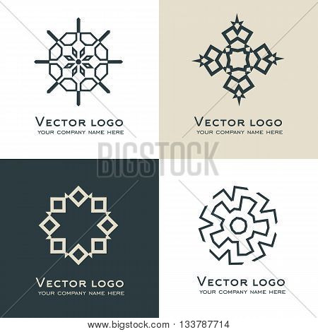 Set of vector abstract geometric logo. Celtic arabic style. Sacred geometry icon.