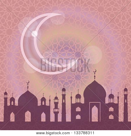 Islam, muslim pattern background.Vector Celebration card for Eid Ul Adha festival, Ramadan Kareem, arabic holiday template.Mosque, minaret, moon, ethnic ornament.Vintage Illustration