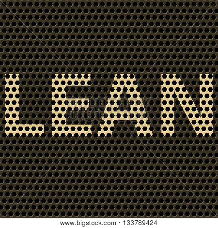 Abstract vector background with title Lean. Lean is modern program of productivity usually used in manufacturing. Polygonal background pattern.