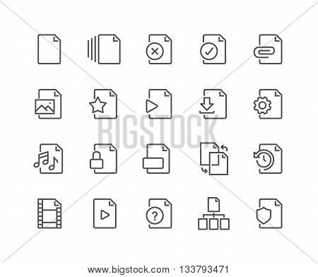 Simple Set of File Related Vector Line Icons. Contains such Icons as Download, Video File, Sync, Settings and more. Editable Stroke. 48x48 Pixel Perfect.