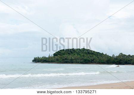 Mountain and sea sichon beach at Nakhon si thammarat