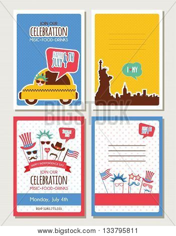 set of cards and invitations for 4th of July, independence day of America. hipster and vintage greeting cards. vector illustration