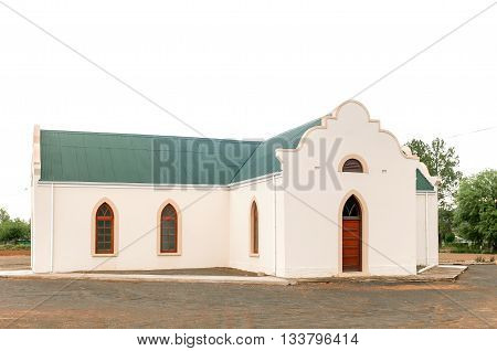 The Dutch Reformed Church in Adendorp a village on the outskirts of Graaff Reinet in the Eastern Cape Karoo region.