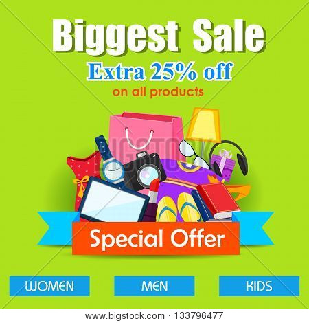 vector illustration of shopping sale poster with different element