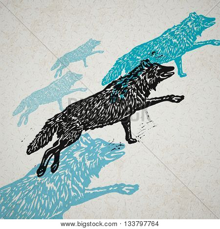 Vector wolves in abstract composition. Linocut wolves in different colors on on the old paper