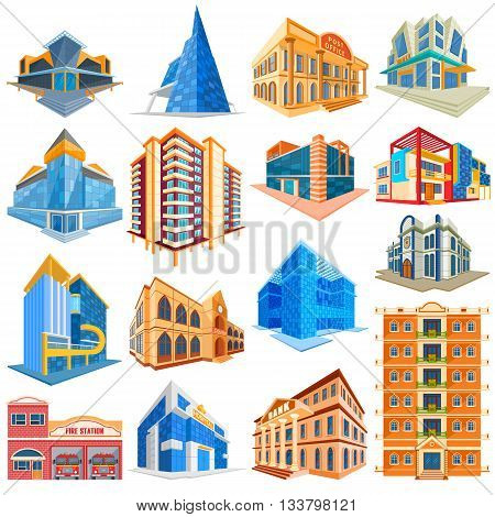 vector illustration of set of different residential and commercial building