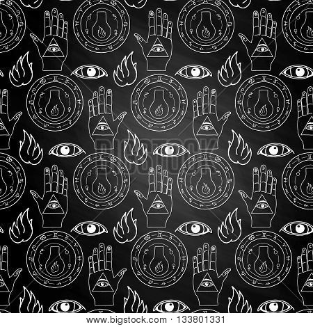 Seamless pattern all seeing eye, the hand and the alchemical flask on a white background on chalkboard